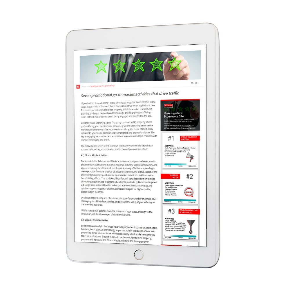 Marketing a new ecommerce site blog on tablet