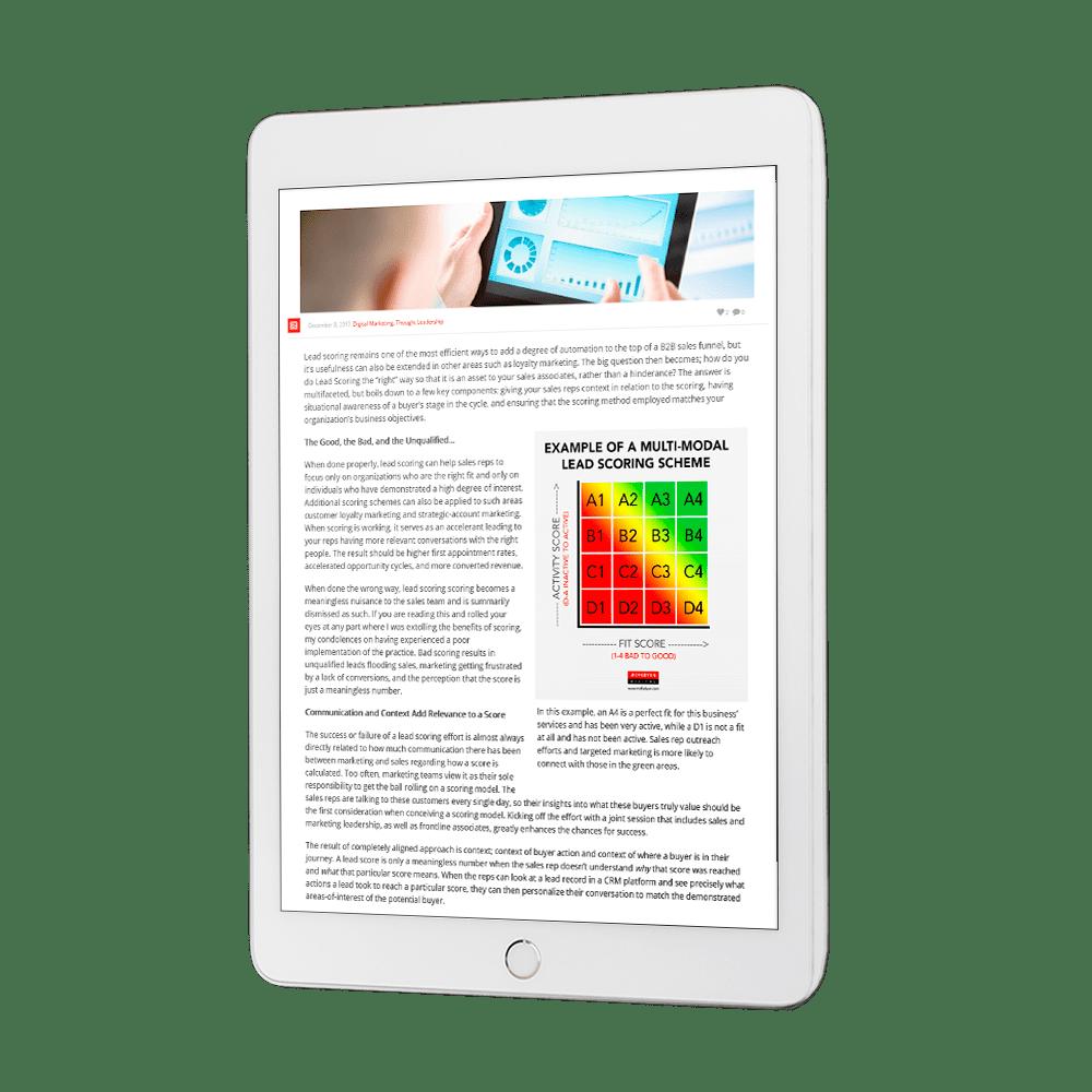 Lead Scoring blog on tablet