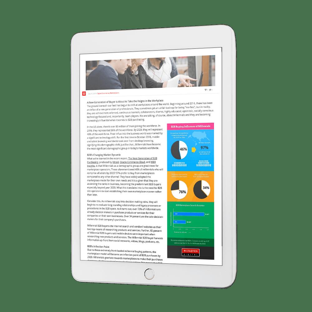 Millennial marketplace blog on tablet
