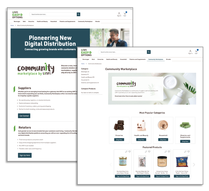 UNFI Community Marketplace Screen Shots