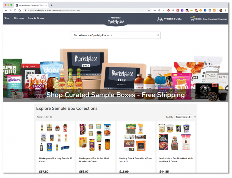 The Albertsons Marketplace Home Page