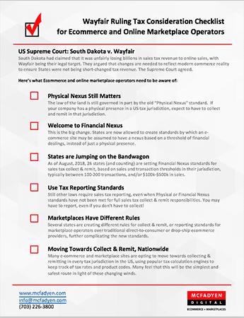 Sales Tax Checklist for Online Marketplace Operators - Wayfair Decision