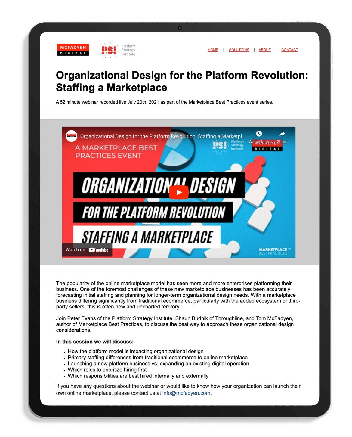 Organizational Design for the Platform Revolution